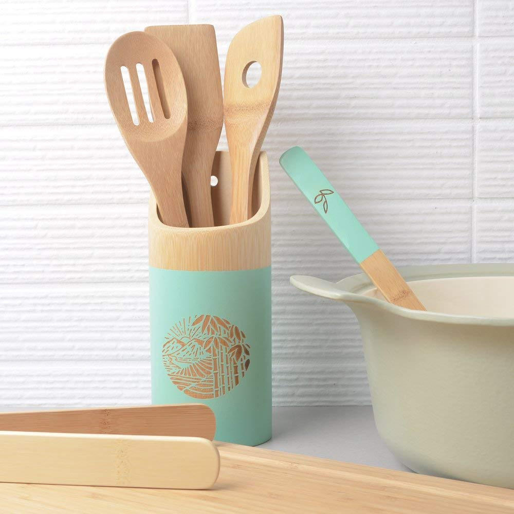 Organic 6 Piece Bamboo Cooking and Serving Utensils Set | Kitchen Accessories Kit In Colorful Utensil Holder | Spoon and Spatula and Salad Tong Mix | Space-Saving Wood Kitchen Gadgets Set | By laboos