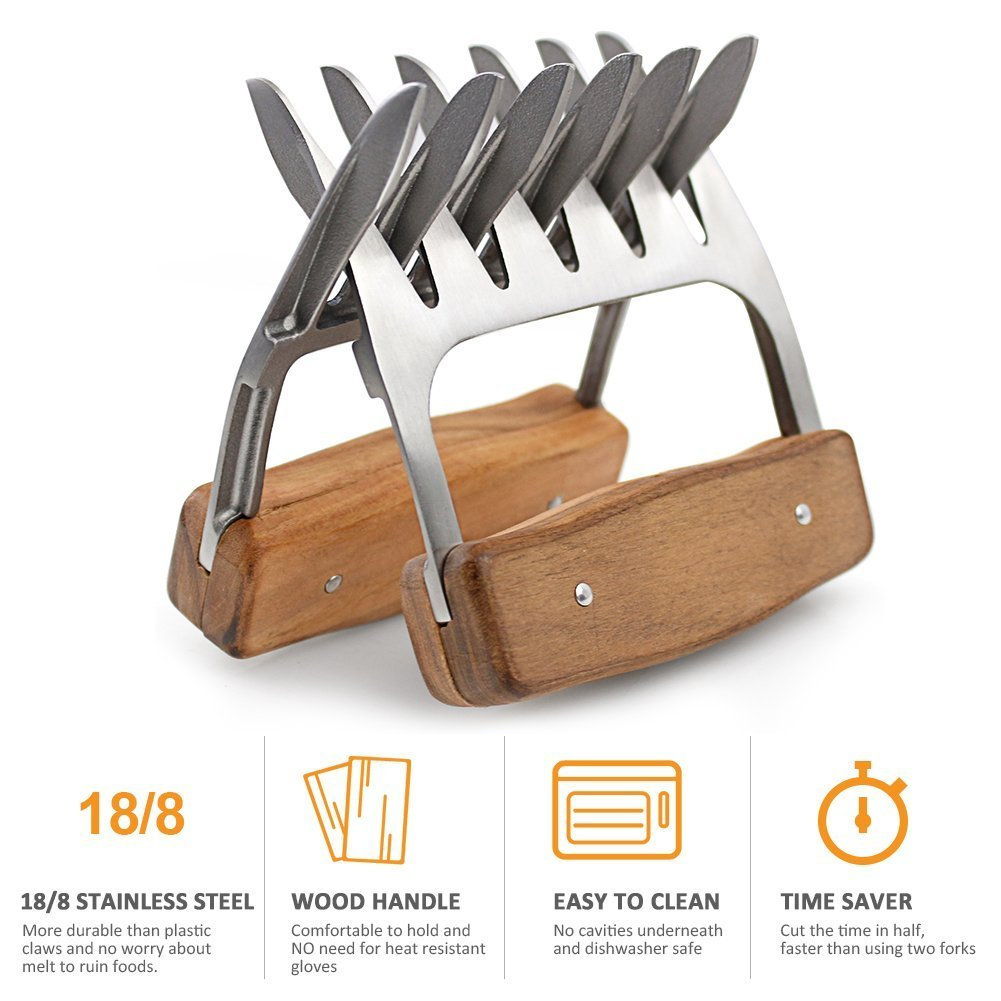 Metal Meat Claws, 1Easylife 18/8 Stainless Steel Meat Forks with Wooden Handle, Best Meat Claws for Shredding, Pulling, Handing, Lifting and Serving Pork, Turkey, Chicken, Brisket