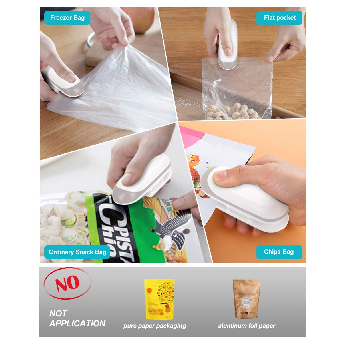 Mini Bag Sealer, 2 in 1 Heat Sealer and Cutter with Detachable Hook Handhold Heat Sealer for Food Storage Resealing Snack Bags (Battery Not Included)